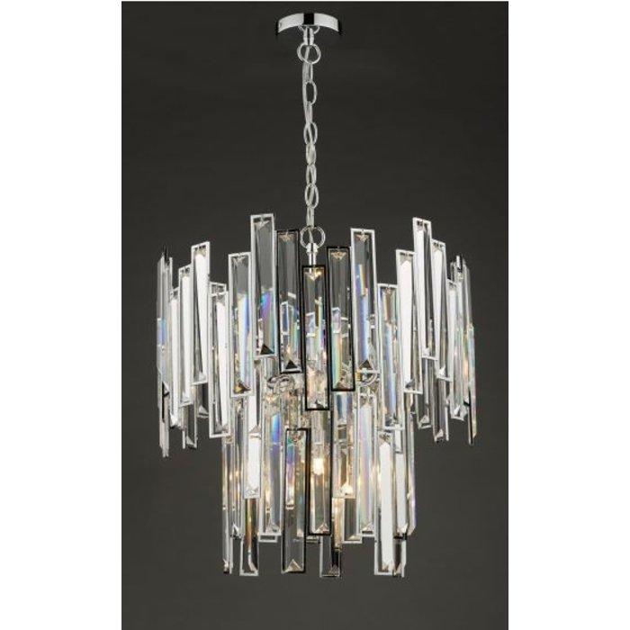 Ondra - Modern Art Deco Tiered Clear Crystal Chandelier - Polished Chrome