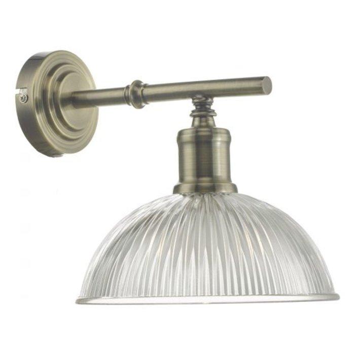 Jayne - Mid Century Ribbed Glass Wall Light - Antique Brass