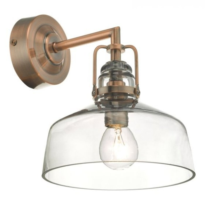 Sadie - Vintage Industrial Copper and Glass Wall Light