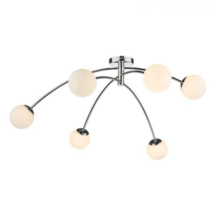 Ellen - Mid Century Opal Globe Large Low Ceiling Feature Light - Polished Chrome
