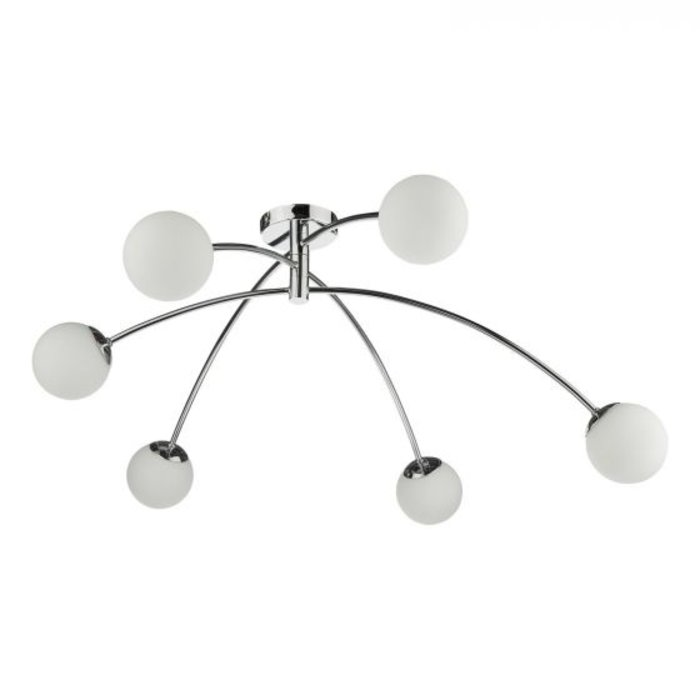 Ellen - Mid Century Opal Globe Large Low Ceiling Feature Light - Polished Chrome