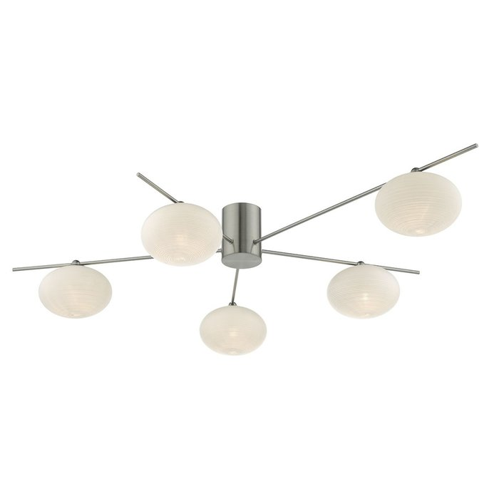 Robin - Minimalist Mid Century Semi Flush Ceiling Light - Satin Nickel