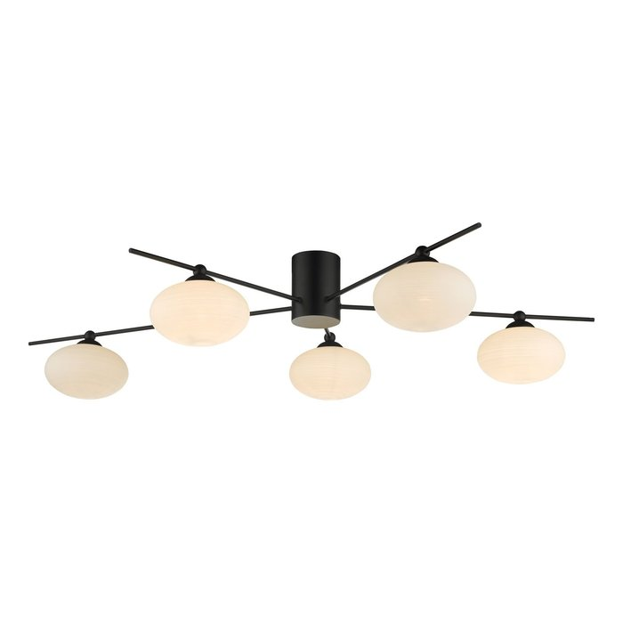 Robin - Minimalist Mid Century Semi Flush Ceiling Light - Black