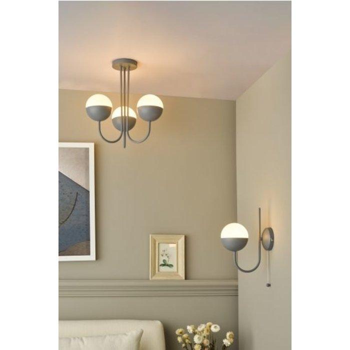 Curve - Opal Ball Matt Grey Semi Flush Light