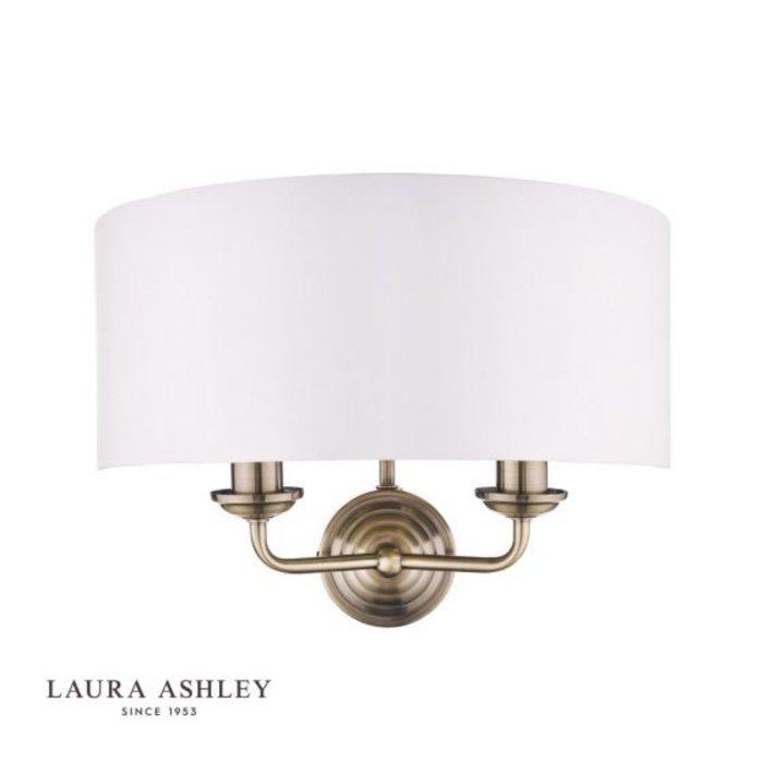 Sorrento - Drum Chandelier Wall Light - Ivory & Brass - Laura Ashley