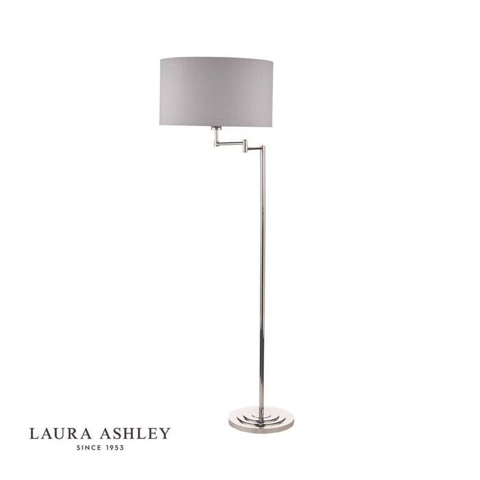 Marlowe - Classic Swing Arm Floor Lamp with Grey Linen Shade - Laura Ashley