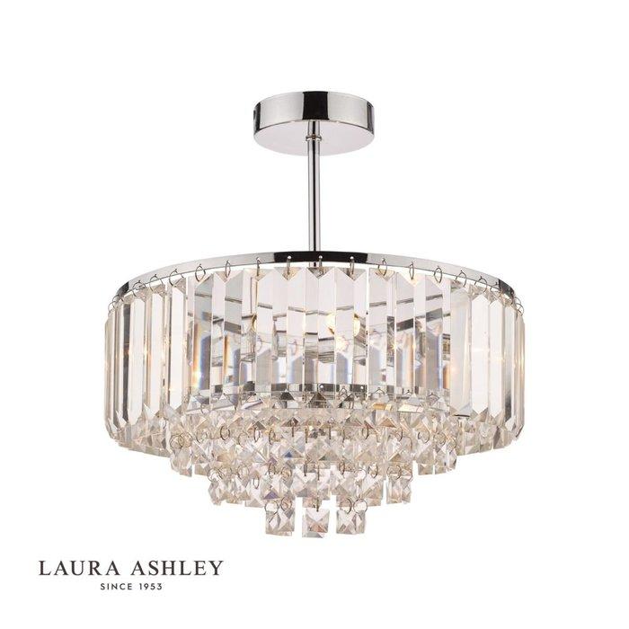 Vienna - Crystal & Chrome Semi Flush Fountain Feature Ceiling Light - 3 Light - Laura Ashley