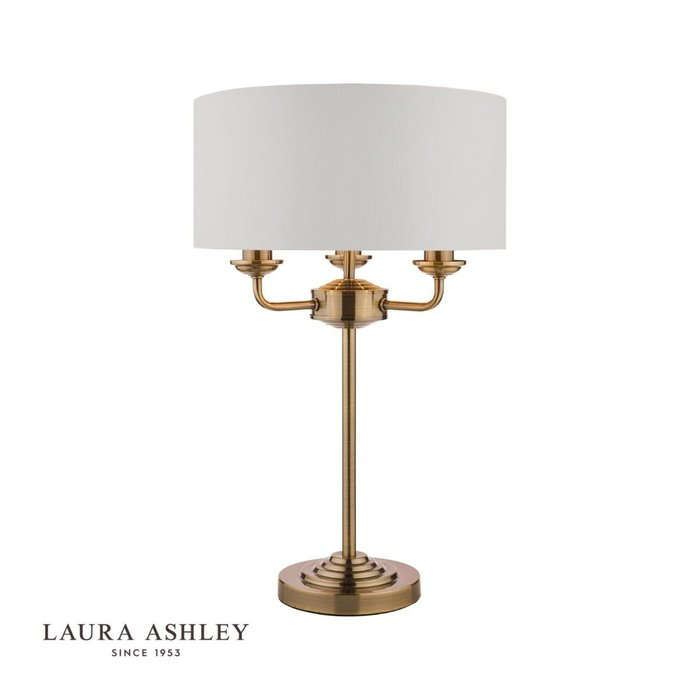 Sorrento - Chandelier Table Lamp - Ivory & Brass - Laura Ashley