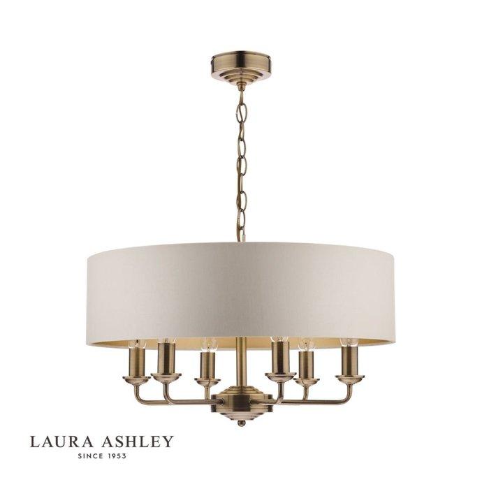 Sorrento - Drum Shade Chandelier Ceiling Light - Ivory & Brass - Laura Ashley