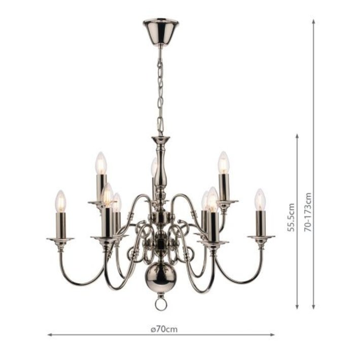 Winchester -Classic Large Flemish-style 9 Armed Chandelier - Laura Ashley