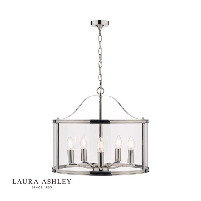 Harrington - Polished Nickel 5 Light Drum Lantern Ceiling Light - Laura Ashley