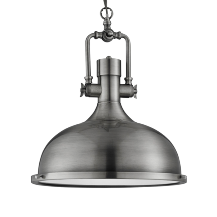 Indie - Antique Nickel Industrial Pendant with Diffuser