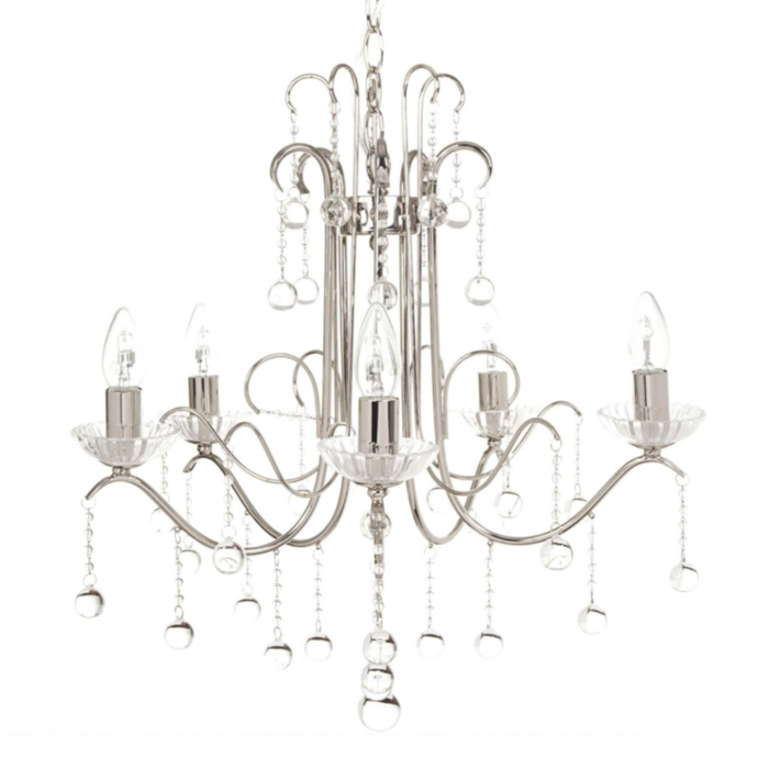 Charlotte - 5 light Waterfall Crystal Chandelier - Laura Ashley