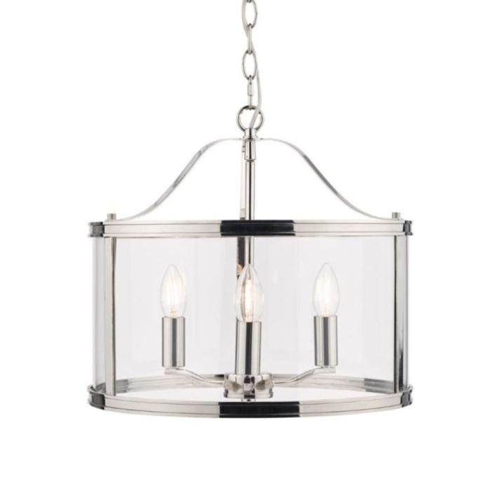 Harrington - Polished Nickel 3 Light Drum Lantern Ceiling Light - Laura Ashley