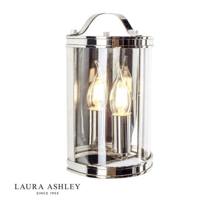 Harrington - Half Moon Lantern Wall Light - Polished Nickel - Laura Ashley