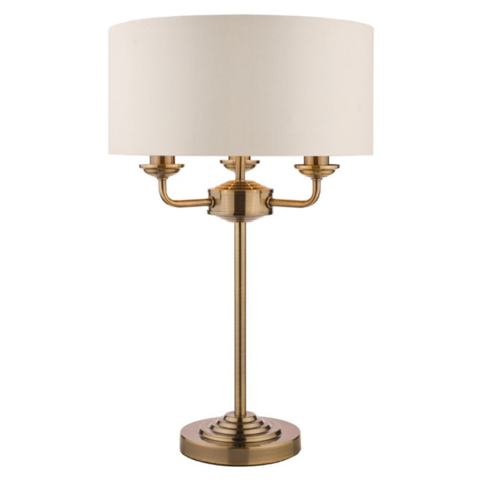 Sorrento - Chandelier Table Lamp - Ivory & Brass - Laura Ashley