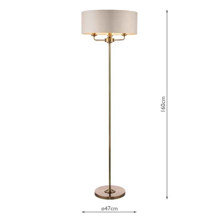 Sorrento - Drum Chandelier Floor Lamp - Ivory & Brass - Laura Ashley
