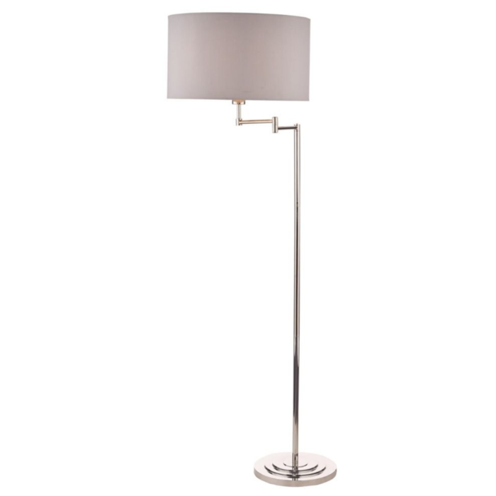 Marlowe - Classic Swing Arm Floor Lamp with Grey Linen Shade - Laura Ashley