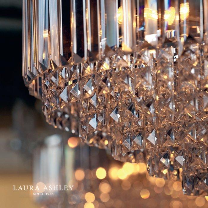 Vienna - Crystal & Brass Semi Flush Fountain Feature Ceiling Light - 3 Light - Laura Ashley
