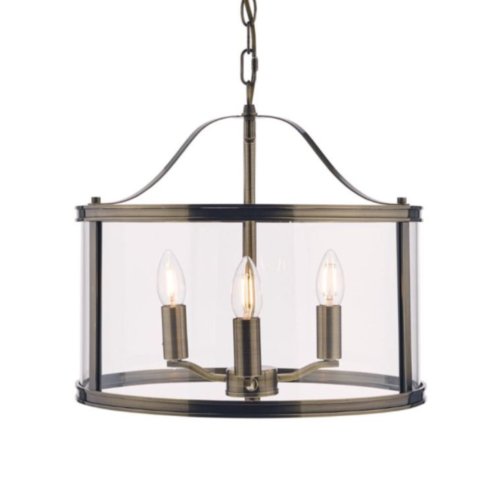 Harrington - Antique Brass Drum Lantern Ceiling Light - Laura Ashley