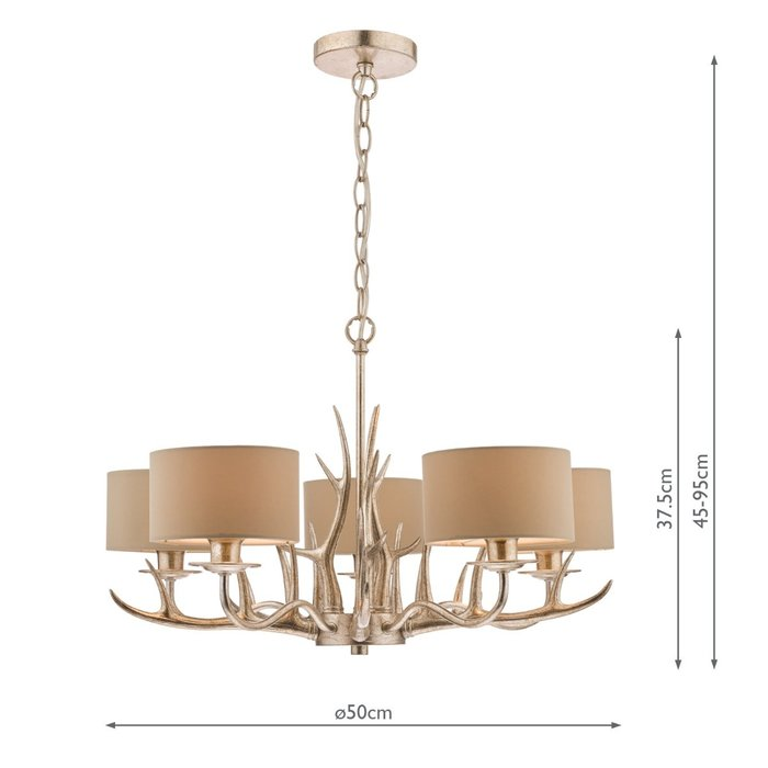 Mulroy- Antler 5 Light Chandelier with Shades - Laura Ashley