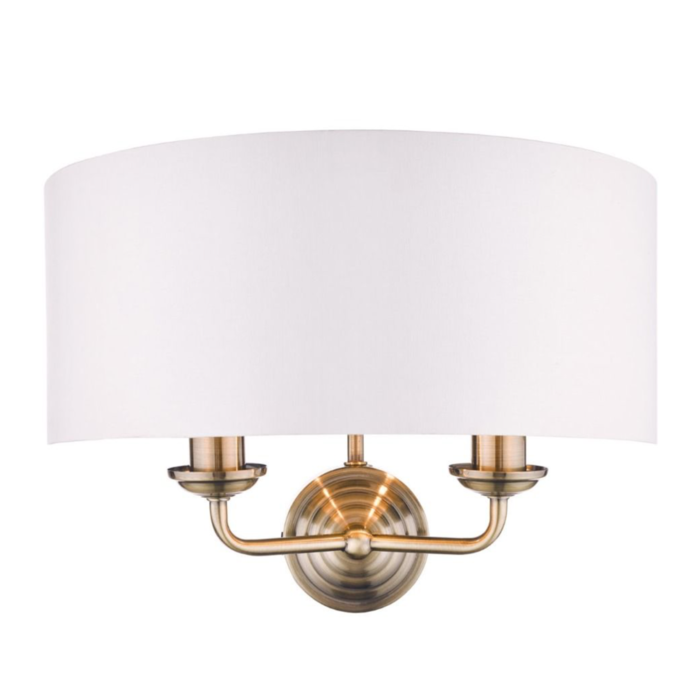Sorrento - Drum Chandelier Wall Light - Ivory & Brass - Laura Ashley