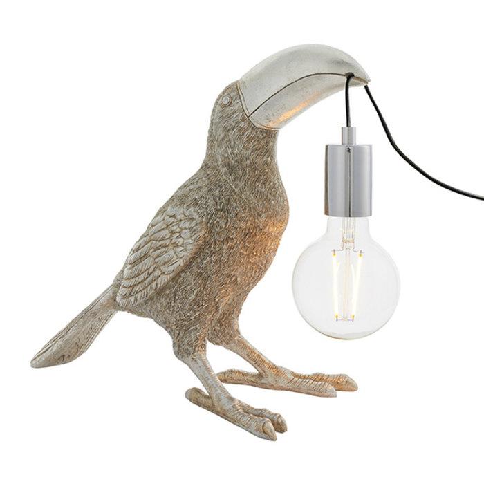 Lauren - Toucan Table Lamp - Vintage Silver