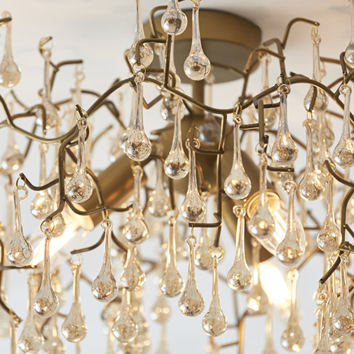 Bedale - Champagne Glass Tree Branch Semi Flush Ceiling Light - Aged Gold