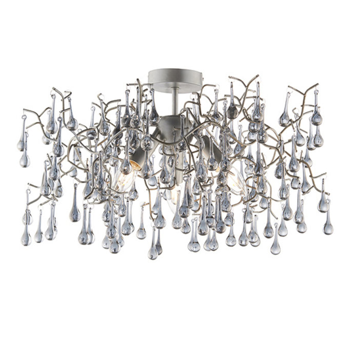 Bedale - Smoked Glass Tree Branch Semi Flush Chandelier - Aged Silver
