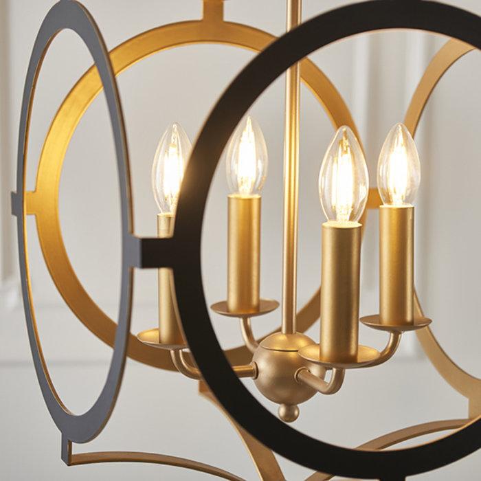 Hunmanby - Black and Gold Circular Frame Pendant