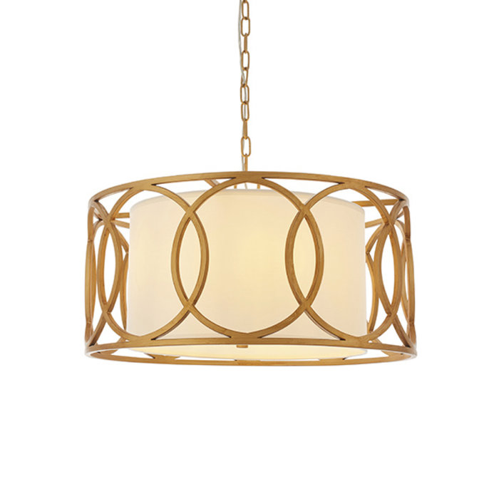 Dale - Luxury Drum Feature Pendant - Gold & White