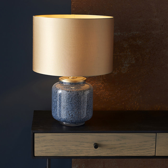 Marine - Luxury Cobalt Glass Table Light with Gold Shade
