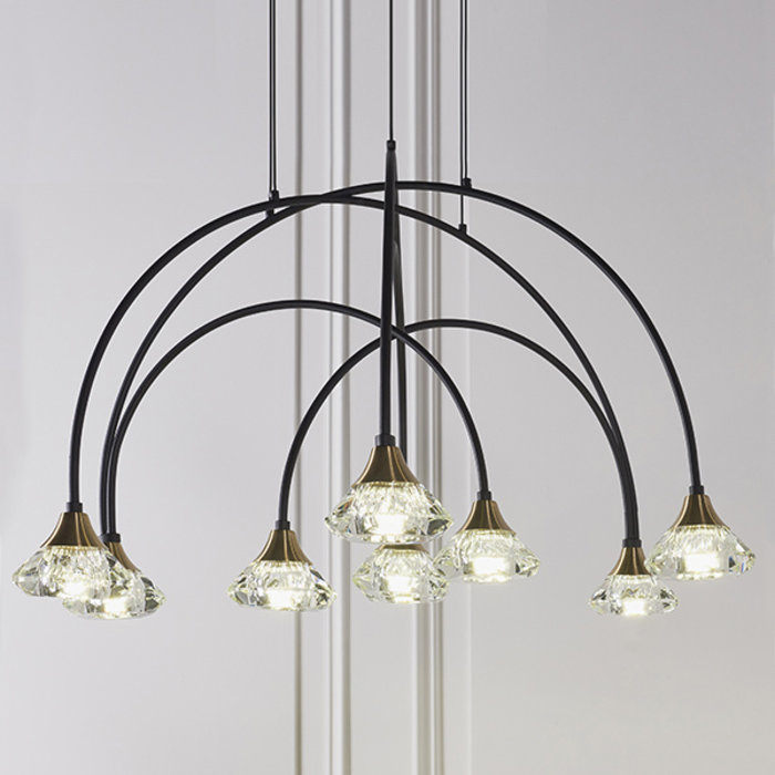 Helmsley - Black, Brass & Crystal Glass Curving Feature Pendant