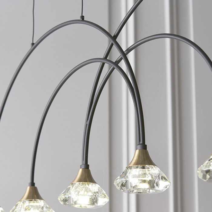 Helmsley -  Black, Brass & Crystal Glass Bar Pendant