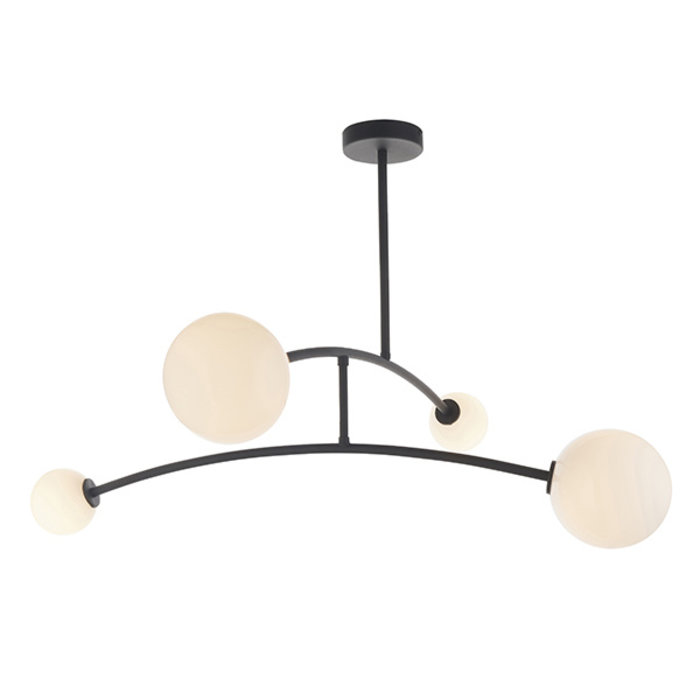 Black Ceiling Light with 4 Opal Glass Shades