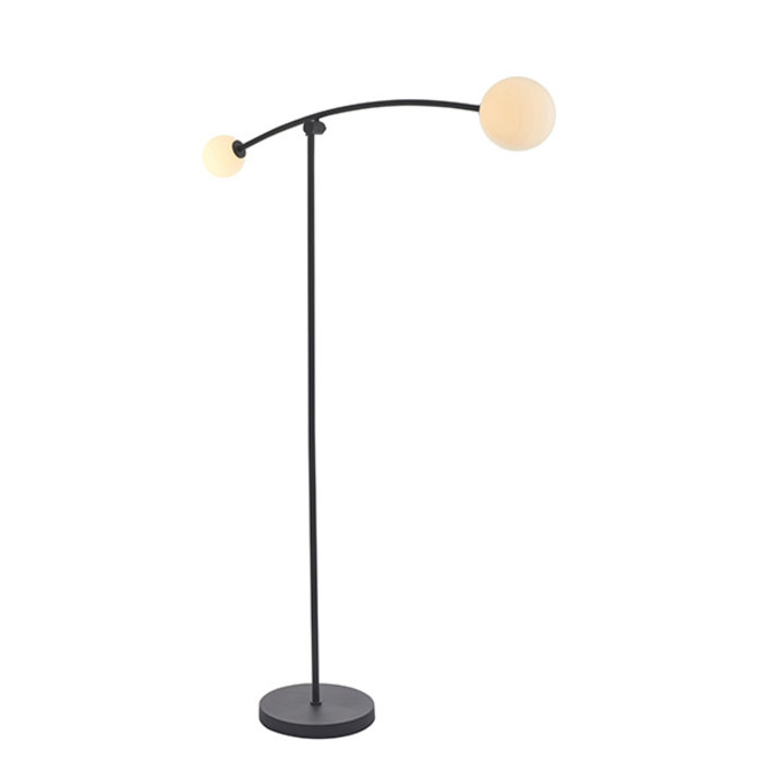 Black Floor Lamp with 2 Opal Glass Shades