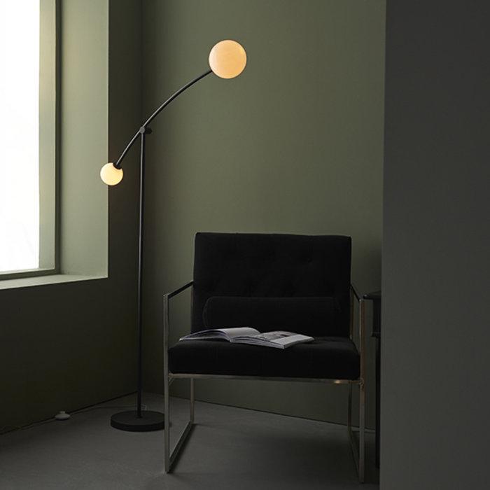 Howard - Modern Mid Century Black Floor Lamp with Opal Glass Shades