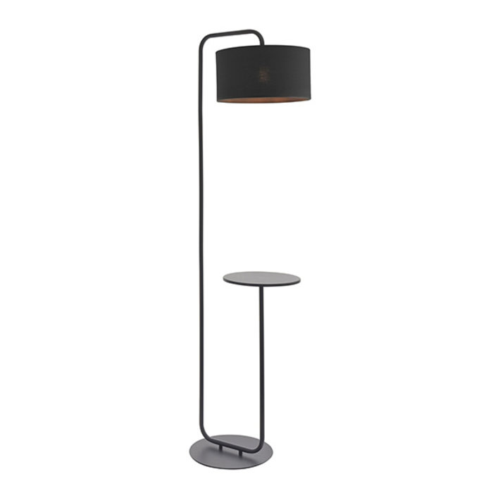 Runswick - Minimalist Floor Light with Black Shade - Black