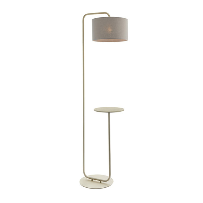 Runswick - Minmimalist Floor Lamp with Grey Shade - Champagne Painted