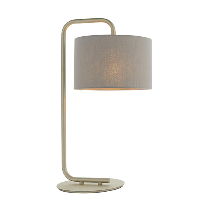 Runswick - Hotel Style Minimalist Table Light with Grey Shade - Champagne Painted