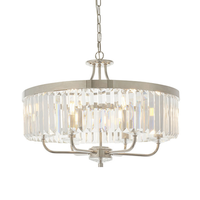 Pickering - Art Deco Chandelier Pendant - Clear Cut Glass & Nickel