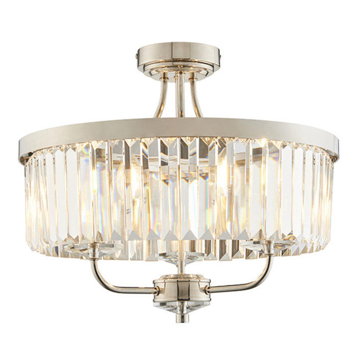 Pickering - Art Deco Semi Flush Chandelier - Clear Cut Glass & Bright Nickel