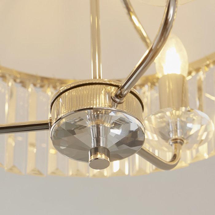 Pickering - Art Deco Semi Flush Chandelier - Clear Cut Glass & Bright Nickel