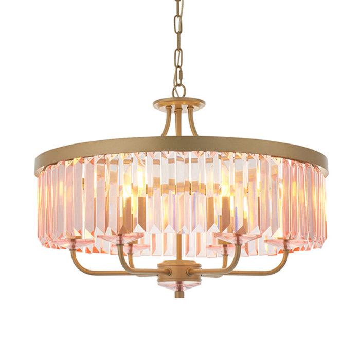 Pickering - Art Deco Chandelier Pendant - Rose Pink Cut Glass & Champagne