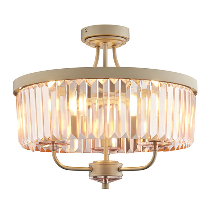 Pickering - Semi Flush Art Deco Chandelier - Rose Pink Cut Glass & Champagne