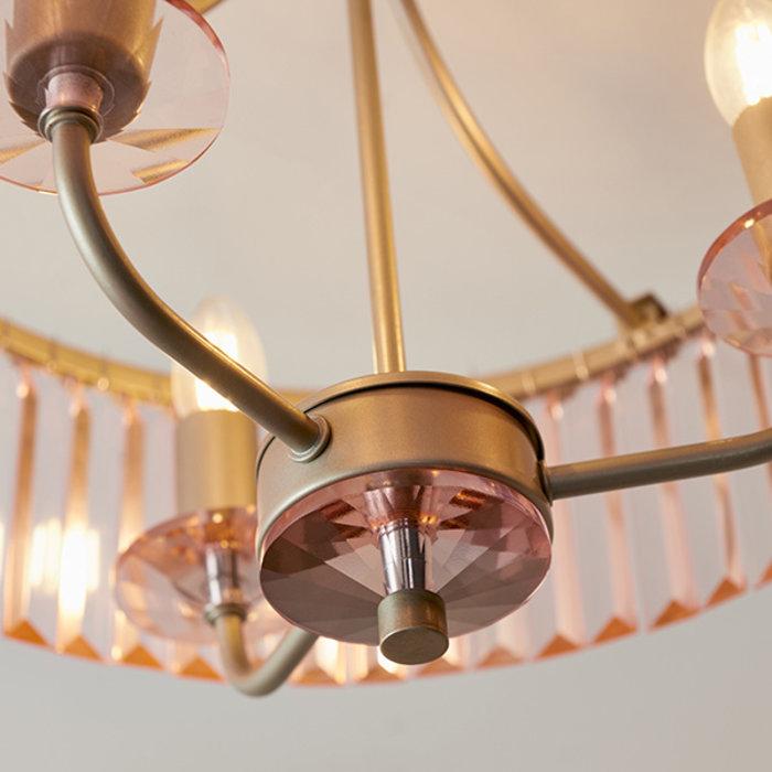 Pickering - Semi Flush Art Deco Chandelier - Rose Pink Cut Glass & Champagne