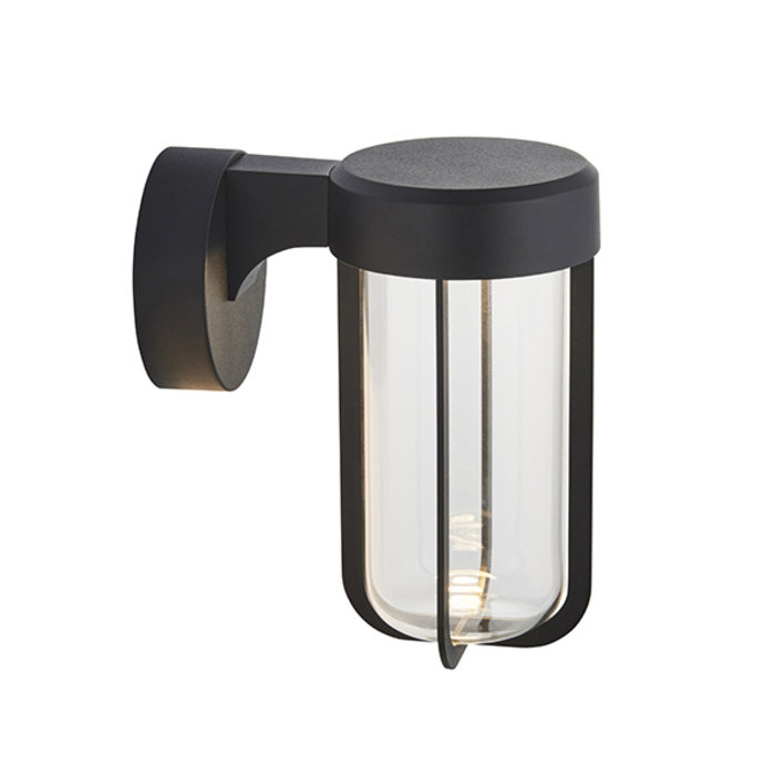 Ayton - Modern Black & Clear Glass LED Outdoor/Bathroom Wall Light