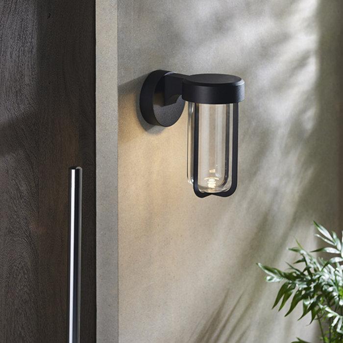 Ayton - Modern Black & Clear Glass LED Outdoor/Bathroom Wall Light