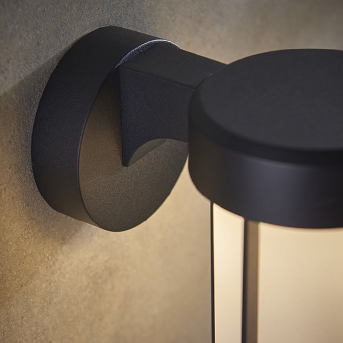 Ayton - Luxury Black & Frosted Glass LED Outdoor/Bathroom Wall Light