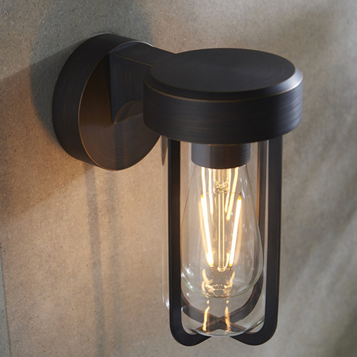 Ayton - Industrial Outdoor Wall Light - Brushed Bronze & Clear Glass
